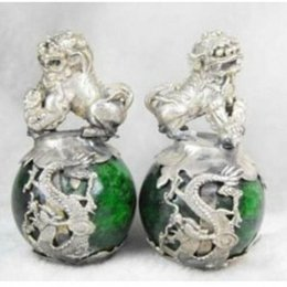 Wholesale Crystal Blocks Wholesalers - Rare Pair Jade Inlay Dragon Phoenix Foo Fu Dog