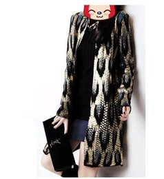 Wholesale Leopard Knit Sweater - Wholesale-Autumn winter Women Fashion Gold Leopard knit sweater Long Sleeve long Cardigan Sweater Coat