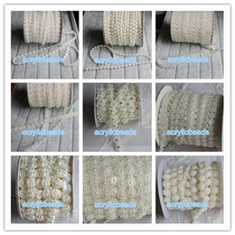 Wholesale Beaded Chain Belt - 1Yard Plastic White Fake Pearl Beaded Sewing Lace Trim Chains Garland Flatback Wedding Bridal Belt Decoration Events Dress Accessories