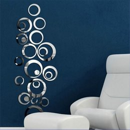 2019 papel adhesivo círculo Venta al por mayor- 2016 Hot 24PCS 3D Mirror Circle Wallpapers Extraíble Acrílico Espejo Wall Paper Home Calcomanías Vinilo Arte Pegatinas Casa DS293 papel adhesivo círculo baratos