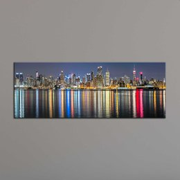Wholesale New York Paint - Unframe New York City Canvas Painting Panoramic Home Decor Canvas Wall Art Picture Landscape Digital Art Print for Living Room
