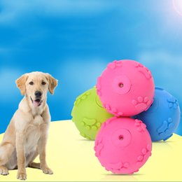 Wholesale Dog Tooth Ball - 6Cm Diameter Dog Toy Ball Footprint Pattern TPR Rubber Play Toys Sound Making Teeth Grinding Pet Supplies Eco-Friendly Safe Toy 3 Colors