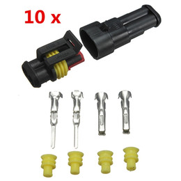 Wholesale Auto Electrical Parts Wholesalers - Brand New 10sets Car Part 2 Pin Way Sealed Waterproof Electrical Wire Auto Connector Plug Set