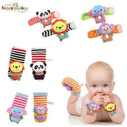 Wholesale Wholesale Sock Monkey - Wholesale- Happy Monkey Baby Infant Cute Animal Wrist Foot Sock Rattles Soft Developmental Toys Finders