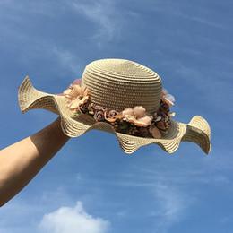 Wholesale Large Ladies Straw Hats - 2017 New Elegant Floral Sunhats Female Summer Hat Large Brim Sun Hat Lady Holiday Beach Cap Fashion Yarn Kentucky Derby Hat