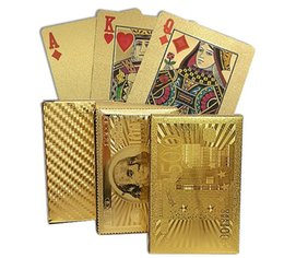 Wholesale Design Playing Cards - Hot Gold Foil Plated Card Game Playing Cards Plastic Poker US dollar   Euro Style   Normal style 3 designs