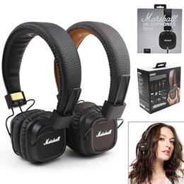 Wholesale Mp4 Free Shipping - HOT SALE Marshall Major II 2 Black Headphones New Generation Headset Remote Mic 2nd pk MARSHALL MONITOR AAA Quality Free Shipping