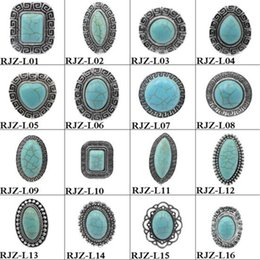 Wholesale Turquoise Stone Bohemian Rings - 37 Style Turquoise Rings High Quality Vintage Turquoise Natural Stone Rings Fashion Gemstone Women Mens Ring Jewelry Free Size