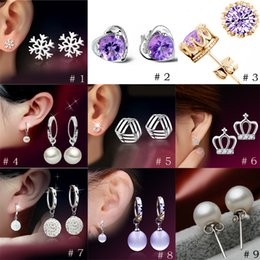 Wholesale Wholesale Crown Gifts - 2017 Crown Princess Cross Earrings S925 Sterling Silver Earring female anti allergy Valentine's Day gift to send his girlfriend a gift