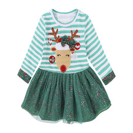 top boats Coupons - Baby Girls Christmas Dresses Reindeer Striped Long Sleeve Tops Dress Lace Tulle Short Skirt New Kids Clothing Free DHL 394