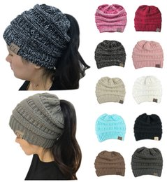 Wholesale Green Ponytail - Fashion 10 Colors Women CC Ponytail Caps Girls Winter Warm Hat Back Hole Pony Tail Casual Knitted Beanie for Sports