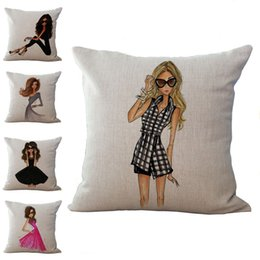 Wholesale Beauty Bedding - Beauty Girls pattern Pillow Case Cushion cover Linen Cotton Throw Pillowcases sofa Bed Pillow covers DROP SHIPPIING
