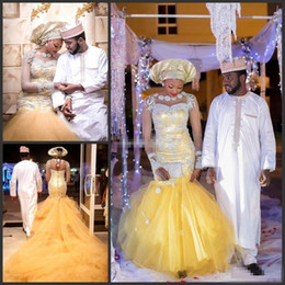 Wholesale Traditional Long Sleeve Wedding Dress - African Traditional Wedding Dresses Nigeria Gold Wedding Gowns 2016 Crystal Beads Sheer Tulle Long Sleeves Mermaid Bridal Dress Plus Size
