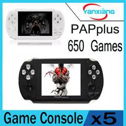 Wholesale Hd Portable Video Player - 5pcs PAP Gameta 2 plus Handheld Game Consoles Portable 650games 64 Bit Mini Video Games Players HD Support TV Out YX-PAPPlus