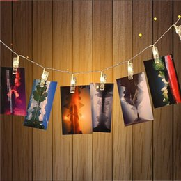 Wholesale Wholesale Led Lighted Pictures - Wholesale-LED Hanging Picture Photo Clips Pegs Bright String Light Lamp Indoor 2.510leds , party,wedding decor