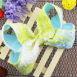 Wholesale Two Color Ribbon Bows - 2017 new JOJO sequins hair clips Two-color flip big bowknot hairpin headdress Girl head clip Accessories Christmas princess headdress L97