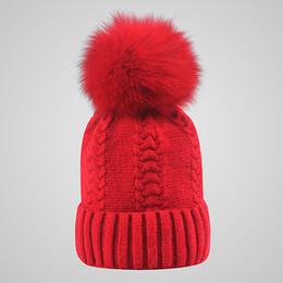 Wholesale Skull Hair Tie - 10 Colors Winter Double twist Beanie Knitted Big Rabbit Hair Fur Pom Poms Hat Women Cap Headgear Headdress Head Warmer Top Quality