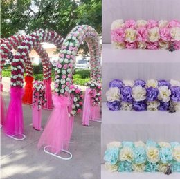 Wholesale cheap silk red roses - Cheap DIY Wedding decoration props simulation silk flowers rose wedding arch wedding Artificial flower Road LED Flowers