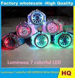 Wholesale Silicon Man Watches - 2017 LED Luminous Diamond Luxury Geneva Watches Rubber Silicon colorful lights Watch Quartz Fashion Men and Women Watches Luxury wristwatch