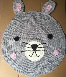 Wholesale Wool Knitting Patterns Children - High quality carpet Mats rabbit fox pattern hand-woven animal mats Children mats knitted wool blankets INS Nordic style 1364