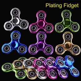 Wholesale Funny Plates - Metallic Color Plated EDC Fidget Spinners Rotate Hand Spinner Originality Decompression Toys Black Gold Finger Toy Funny Spinning Top OTH378