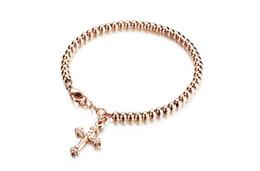 Wholesale Tassel Bracelet Cross - Fashionable rose gold ladies bracelet cross tassel beaded bracelet titanium steel jewelry