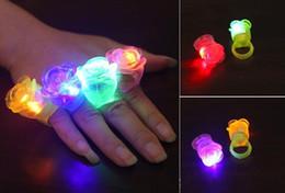 Wholesale Led Flower Disco Light - Rose LED toys Flower Light Up Flashing Rose Flower Bubble Elastic Ring Rave Party Blinking Soft Finger Lights For Party Disco KTV