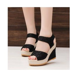 Wholesale Ladies Wedge Shoes Ankle Straps - Wholesale-Summer Ladies Shoes Wedges Gladiator Sandals Women Platform Sandals Chaussure Sandale Femme Thick Heel Sandalias Zapatos Mujer