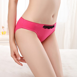Wholesale Front Panties - Free Shipping Yun Meng Ni Sexy Underwear Front Lace Trim Girls Undergarments Breathable Cotton Panties For Lady