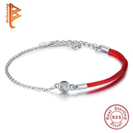 Wholesale Thread Rope - BELAWANG Special Design 925 Sterling Silver Crystal Bracelet Red Thread Rope Bracelet Women Girls Jewelry for Valentine's Day Birthday Gift