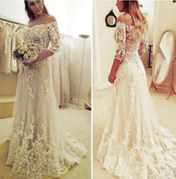 Wholesale Brides Dress Falls Off - Off Shoulder Lace Tulle Bride Dress With Half Sleeves A Line Wedding Dresses With Sweep Train For Sale