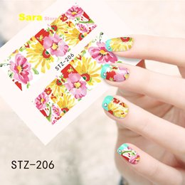 Wholesale Tattoo Stickers For Nails - Wholesale- 1pcs Nail Art Sticker Watermark Temporary Tattoos for Nails Decals DIY Tools Colorful Beautiful Flower Painting STZ206