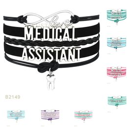 Wholesale Dentist Woman - (10 Pieces Lot)Infinity Love Medical Assistant Vet Dentist Tooth Charm Leather Bracelets For Women Men Gifts Jewelry