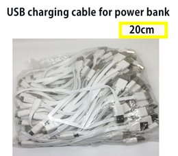 Wholesale Bank Line - 20CM long charger short MICRO cable for power bank white color smart phone usb cable SAMSUNG HTC SONY No Data Sync Cable Line