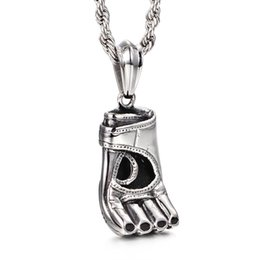 """Wholesale Chain Gloves Jewelry - Awesome Jewelry 22"""" Rope Chain Men's Baseball BOXING GLOVE Design Pendant Good Quality Stainless Steel Chain Necklace"""