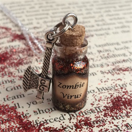 Wholesale Charms Axe - 12pcs lot Zombie Virus Bottle Necklace Pendant axe charm silver tone jewelry