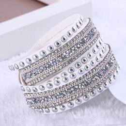 Wholesale Christmas Wrap Sold Wholesalers - hot sell Punk Fashion Multilayer Wrap Bracelets Rhinestone Leather Charm Bangles Crystal Women Christmas Jewelry Gift
