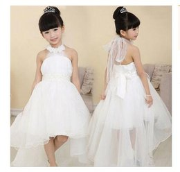 Wholesale Baby Dress Party Elegant - Wholsale Elegant Baby Girl Cute Asymmetric Halterneck Solid Mesh Long Tail Flower Girl Dress Tutu Wedding Party Backless Free shipping