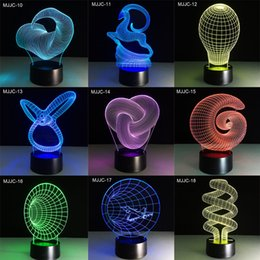 Wholesale Abstract Lamp - 39 style Creative 3D illusion Lamp LED Night Light 3D Abstract Graphics Acrylic lamparas Atmosphere Lamp Novelty Lighting home decorate