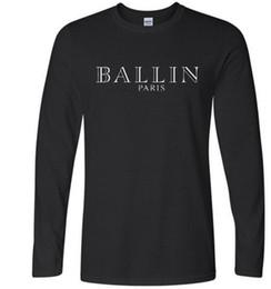 Wholesale Fashion Tshirts - 2017 Fashion Ballin Amsterdam T-shirts Men's Long Sleeve Cotton Black Casual O-Neck Funny Graphic Tshirts Fashion Casual Tee Top