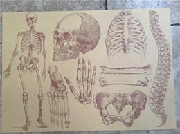 Wholesale full human skeleton - Halloween Human skull bone art retro art Kraft paper painting Masks Skull Mask Personalized Full Face Skeleton 30 *42 cm