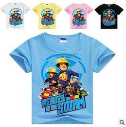 2019 bombeiro camiseta Roupa do bebê Meninos Bombeiro Sam Camisetas Crianças Moda Manga Curta Tops Camisa de Algodão Dos Desenhos Animados Auto Impressão Tees Casual Bebê Crianças Roupas K56 bombeiro camiseta barato