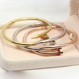 Wholesale Gold Nail Bangle - Hot sell Stainless Steel nail love bracelet bangles with brand logo silver gold rose plated Fashion Women men Love Jewelry