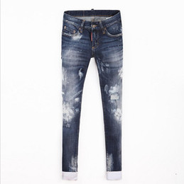Тонкие галстуки онлайн-Wholesale- 2017 Spring and summer new women tie dye Slim cotton jeans was thin micro-elastic jeans personality small hole pants wj387