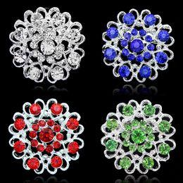 Wholesale Valentine Heart Pin - Rhinestone Crystal Heart Flower brooches Pins Bouquet Brooch Collar pin corsage women men Wedding jewelry valentine Christmas Gift 170265