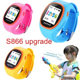 Wholesale Children Security - Wholesale- ZGPAX S866A Kids Waist GPS Tracking SIM Card Smart Watch with SOS LBS Mini Children Security Bracelet Digital for iOS & Android