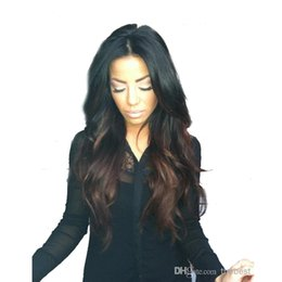 Wholesale Human Mix Lace Front Wigs - HOT Fashion two tone #1b #4 Peruvian Vrigin human hair ombre full lace wig and lace front wig for black women Free shipping