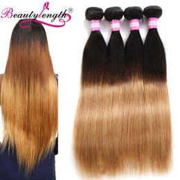 Wholesale Mix Length Cheap Virgin Hair - Brazilian Human Hair 4 Bundles Bundles Cheap Straight Virgin Hair Weaves Two Tone 100 Human Hair Bundles Straight Weave Ombre Weaves
