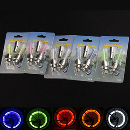 Wholesale Neon Lights For Cars - Firefly Spoke LED Wheel Valve Stem Cap Tire Motion Neon Light Lamp For Bike Bicycle Car Motorcycle 5 colors with retail package