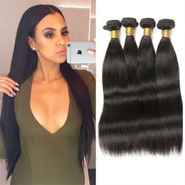 Wholesale 8inch Straight Human Hair - Halo Lady Wholesale Brazilian Peruvian Human Hair Weaves 8inch to 36inch Straight Hair Bundles 4pcs lot Unprocessed Virgin Hair Extensions
